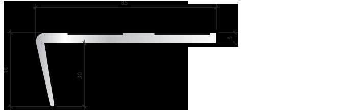 Профиль для защиты ступеней PLINTO SEAU 85×35