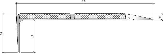 Профиль для защиты ступеней PLINTO SEA 139×39